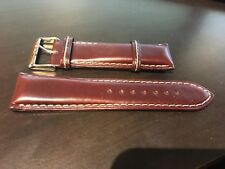 24mm Padded RED BROWN Genuine Leather Watch Strap Band 24R NEW