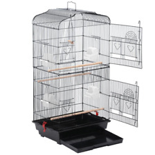 36in Large Black Metal Bird Cage for Parrot, Cockatiel & Canary - Iron & Plastic