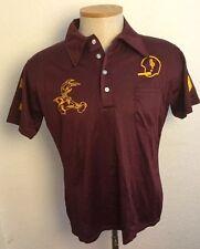 Speedline true vintage 60s 70s High school Football Mesh Polo shirt Large Maroon