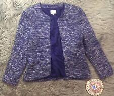 Aritzia Wilfred Exquis Open Front Blazer Space Dye Blue Jacket Sz 8 Career