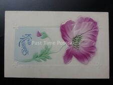 Embossed Poppy Postcard: KIND REGARDS c1910 made in Germany