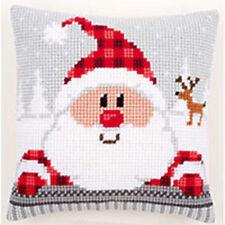 Chunky Cross Stitch Cushion Front Kit 40x40cm 4.5hpi canvas - Funny Santa