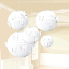 WHITE PAPER BUTTERFLY LANTERNS (5pc) ~ Birthday Party Supplies Decorations Room