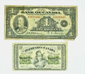 Lot of two Canada Notes, 1935 One Dollar & 1870 25C twenty Five Cent 99c NO RES.