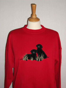 LADIES SWEATSHIRT,JUMPER,TOP WITH AN EMBROIDERED BLACK LABRADORS DOG  RED