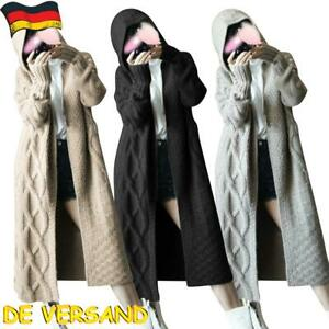 Damen Strickjacke Langarm Cardigan mit Kapuzen Lange Mantel Täglich Outwear