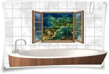 Fliesen-Aufkleber Fliesen-Bild Fenster Europa Weltall Lichter Erde Kontinent Bad