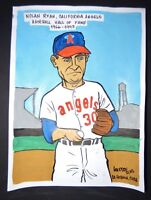 Original Cuban Drawing NOLAN RYAN Baseball Hall of Fame CALIFORNIA ANGELS / Cuba