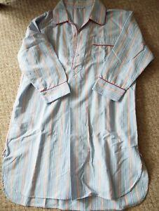 Budd Shirtmakers Brushed Cotton Mens Night Shirt Large Blue/Pink/White Stripe