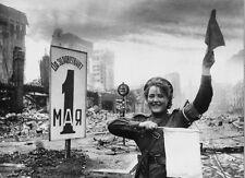 WWII B&W Photo Female Russian MP Berlin June 1945WW2  / 1253  NEW