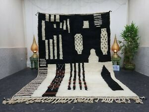 "Moroccan Handmade Beni Ourain Rug 6'8""x9'5"" Berber Abstract White Black Wool Rug"