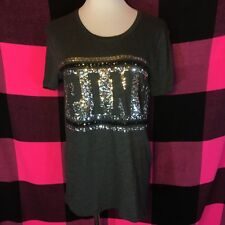 Victoria's Secret PINK Bling Sequin Oversized Tee Shirt Crewneck T-Shirt M NWT