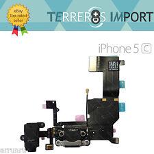 Flex Dock Conector Datos Carga Microfono Auricular Jack iPhone 5C Negro