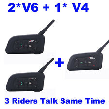 1pc V4+2pcs V6 BT 1200m Motocycle Bike Bluetooth Helmet Headset Intercom 3 Rider