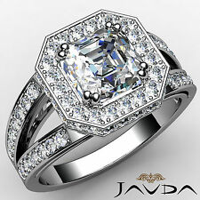 Lustrous Asscher Diamond Engagement Pre-Set Ring GIA I Color VS2 Platinum 1.63ct