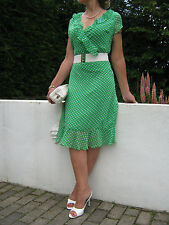 Stunning Pin Up 1940/50s Style Polka Dot Tea Dress   12 or 14