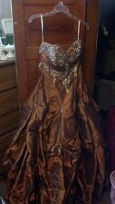 Prom Dress, Brown, Jeweled, Ball Gown