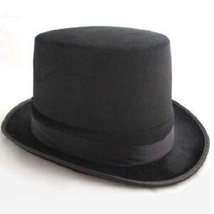 Mens Gents Unisex Top Hat Indestructible Men's Velour Topper Black New Smiffys.