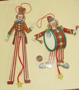 2 Wooden Pull String Jointed Jumping CLOWN CHRISTMAS TREE ORNAMENTS - set #1