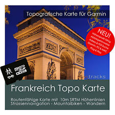 Frankreich Topo Karte 10m Höhenlinien 8GB microSD für Garmin Navi, PC & MAC