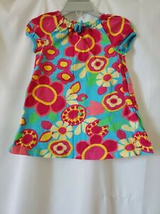 Hanna Andersson Girls Dress Size 80 US 2T Green Pink Yellow Flower