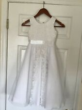 Joan Calabrese for Mon Cheri White Lace Satin &Tulle First Holy Communion Dress