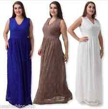 Womens Plus Size V Neck Full Lace  Evening Cocktail Gala Ball Gown Party Dresses