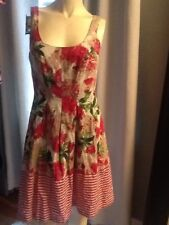 NINE WEST SLEEVELESS FLORAL,STRIPES PLEATED DRESS NWT -6