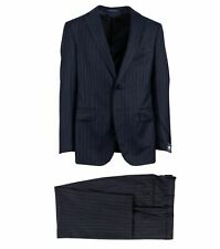 PAL Zileri Navy Blue Striped Wool Two Button Suit Size 52/42 R Drop 8