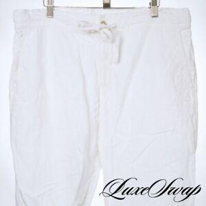 120% Lino Optic White Solid Linen Feel Drawsting Apres Swim Beach Lounge Pants