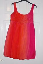 PRINCIPLES PETITE 100% SILK ORANGE/HOT PINK BUBBLE PARTY DRESS UK 14 BNWT XMAS