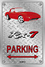 Parking Sign Metal Mazda RX7 Series 1 RED Momos White - Checkerplate Look