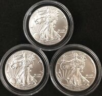 3 BEAUTIFUL 2016 SILVER EAGLES, UNCIRCULATED ***Fresh From Newly Opened Roll***