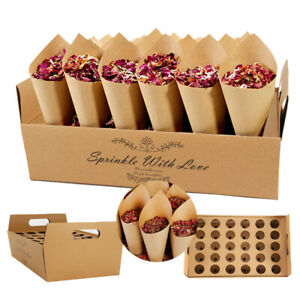 Natural Confetti Cone Holder Stand Box Tray Rustic Wedding Favour Party DecorDIY