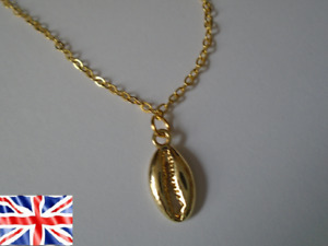 Shell Gold Colour Stainless Steel Chain Shiny Elegant Women Necklace Free Bag UK