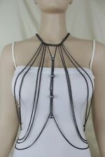 Long Top Jewelry Pewter Ball Charms Women Necklace Trendy Full Black Body Chain