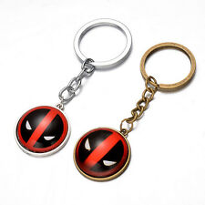 Trendy Anime Cartoon Keychain Silver Bronze Deadpool Cabochon Pendant Keyring