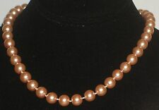 """10MM Lt Orange South Sea Shell Pearl Necklace 18"""" NEW (silk gift bag) Or2"""