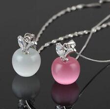 Collier chic pendentif POMME pour femme - Rose ou Blanc - Blanche Neige