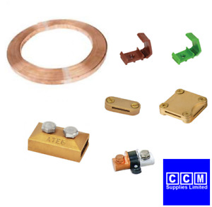BARE COPPER EARTH TAPE 25MM x 3MM EARTH TAPE CLIPS CLAMPS CONNECTORS