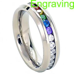 6mm Titanium Ring Round Multi-Color CZ Dome Top Bevel Edge Unisex Wedding Band