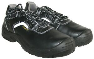 MENS BLACK LEATHER LACE UP STEEL TOE-CAP SAFETY SHOES SIZES 6-11