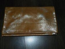 HEYRAUD Petit SAC A MAIN Trousse Pochette en cuir doré 28x17cm sans bandoulière