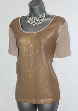 MONSOON Cream Sequin Front Short Sleeve Casual Formal Elegant Top M