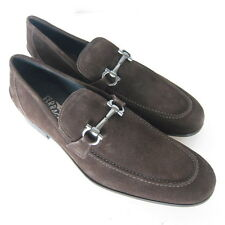 W-1490232 New Salvatore Ferragamo Tapas Chocol Suede Loafer Marked Size 8 EEE