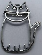 Rw Native American Designer Sterling Silver OpenWork Cat Brooch 8.65 Grams 2�
