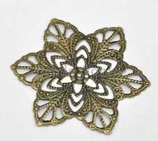 30 Bronze Tone Filigree Flower Wraps Connector Embellishments Findings 57mm