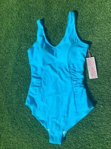 BNWT Size 16 Padded Cup Ruched Side Swimsuit Bust Shelf Blue