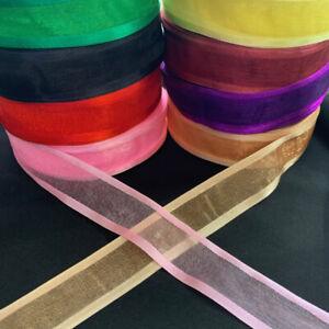 5yd (4.57m) 25mm Organza Satin Edge Ribbon Dress Craft Scrapbooking Sewing #1828