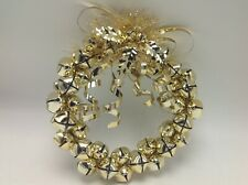 "Jingle Bell Wreath Gold Bells Metal 6"" Diameter Christmas Holiday Decor Holly"